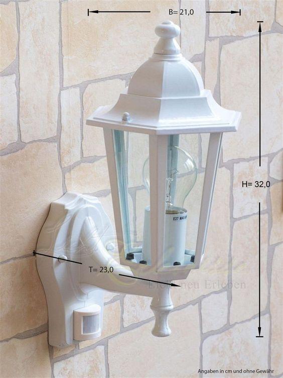 Weiße Wand- Aussenleuchte mit Bewegungsmelder Sensor 8216 Hoflampe Aussenleuchte
