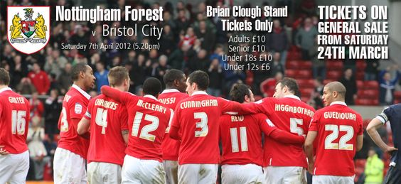 Tickets on general sale VS Bristol City on Saturday 24th March.