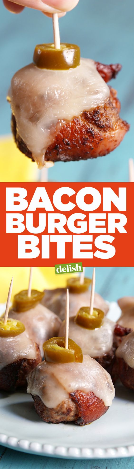Bacon Burger Bites are the low-carb game day app your party desperately needs. Get the recipe from Delish.com.: