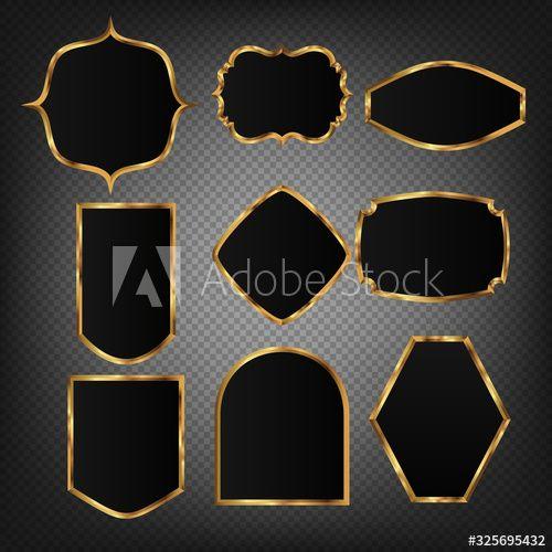Vintage Vector Gold Frame On Black Background 05 Sponsored Gold Vector Vintage Frame Background Ad In 2020 Gold Frame Black Backgrounds Vintage