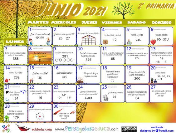 Calendario Segundo ABN – Junio 2021