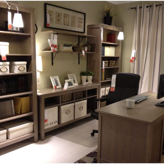 20 Home Office Bookshelves Designs Ideas: Position Of Desk And Bookcases, With Shelves Above Desk