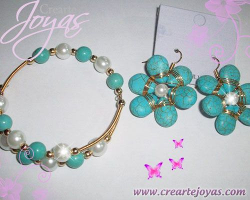 Juego pulsera Zarcillo Turquesa, y perlas naturales en alambre laminado de goldfilled