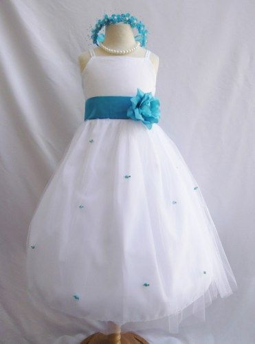 Flower Girl Dress WHITE/Turquoise RB3 Wedding Children Easter ...