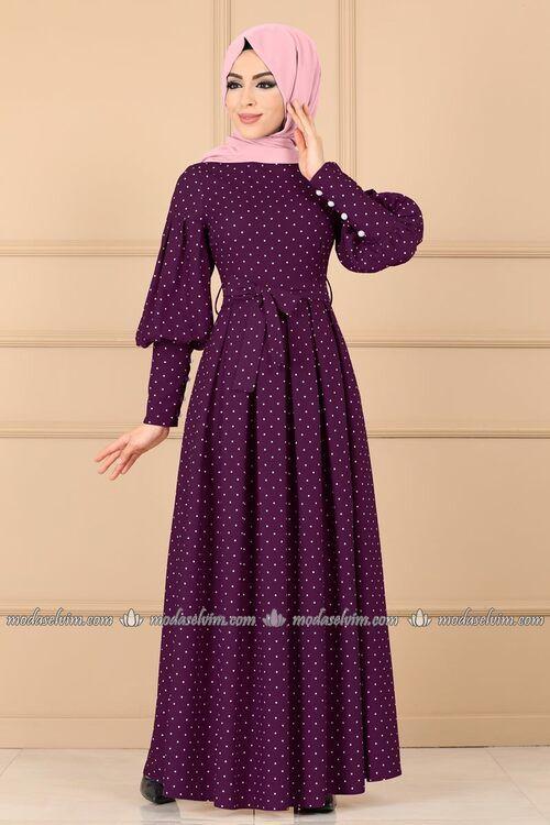 Modaselvim Elbise Puantiyeli Pileli Elbise 8962w153 Mor Elbise Islami Giyim Kiyafet