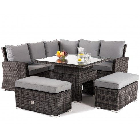 Maze Rattan Richmond Grey Corner Bench Set With Rising Table Corner Garden Furniture Rattan Garden Furniture Pallet Garden Furniture