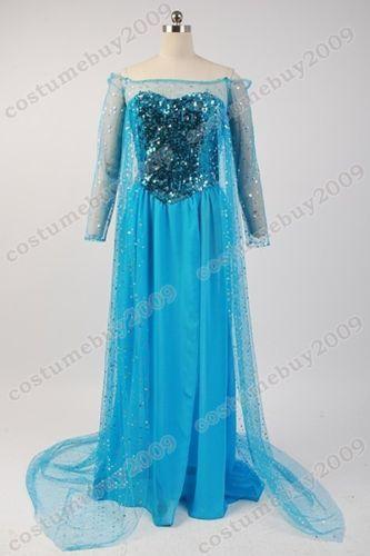 Disney-Frozen-Snow-Queen-Elsa-Fancy-Dress-Cosplay-Costume