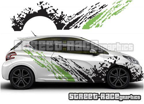 Peugeot 208 Rally Racing Mud Splatter Car Graphics Calcomanias
