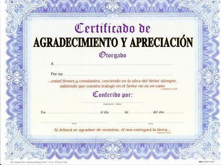 Certificado De Agradecimiento Y Apreciacion Paq 15 Unidades Bible Crafts For Kids Diploma Award Certificates