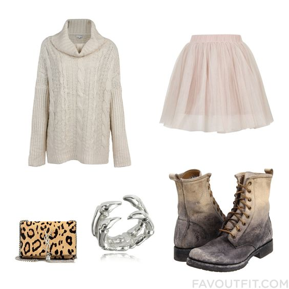 Fashion Inspiration Including Sweater Ballet Skirt Frye Ankle Booties And Monogrammed Purse From November 2015 #outfit #look