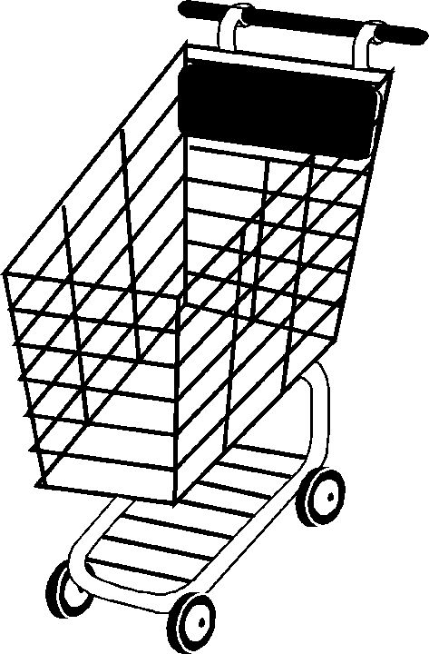 Grocery cart coloring page