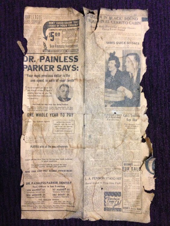 newspaper clippings dating back to 1930-40's depression era.