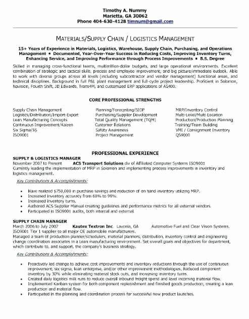 Logistics Manager Resume Sample Inspirational Logistics Manager Resume Template Job Resume Samples Logistics Management Manager Resume