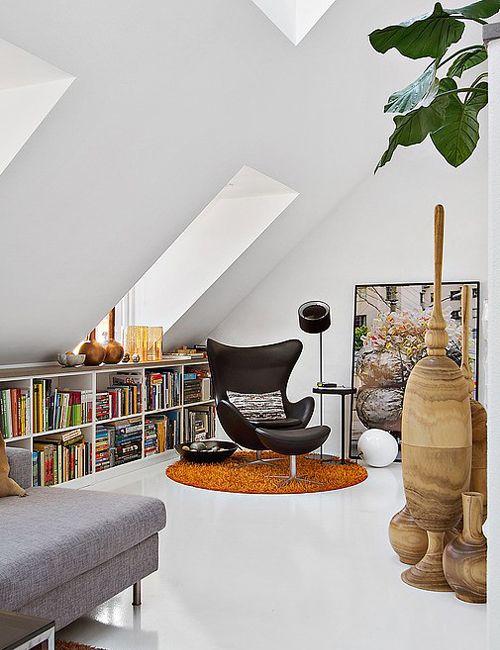 Rincón de lectura, ático en Estocolmo • Penthouse duplex in Stockholm, reading corner