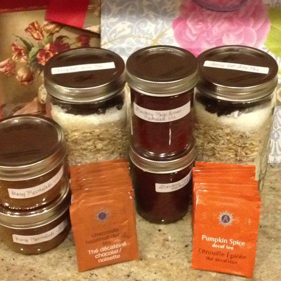 Teacher gift bags - homemade marmalade, cherry oat scone mix, and tea