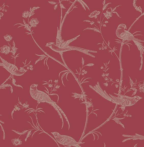 Colours alberta red floral with birds metallic effect for Red wallpaper designs for living room