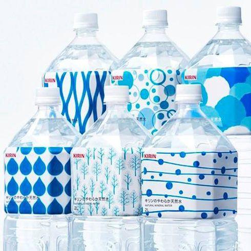 手書きのような、水の模様がかわいい。KIRINの水#package