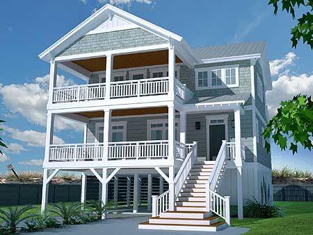Plan 15072NC Casual Beach House Plan House plans, Beaches and House