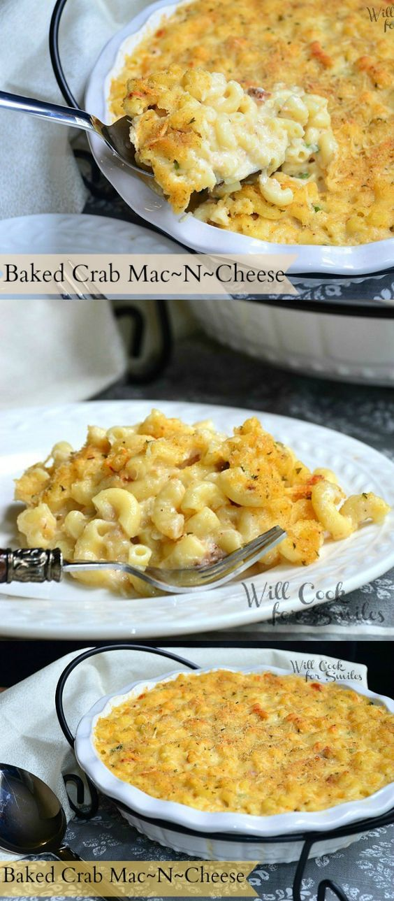 Baked Crab Mac And Cheese | from willcookforsmiles.com #comfortfood #macaroni