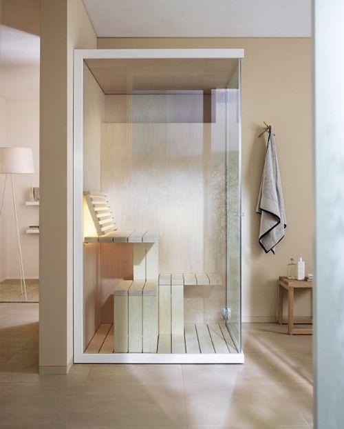Compact Sauna in a spa-like bathroom...what a dream!