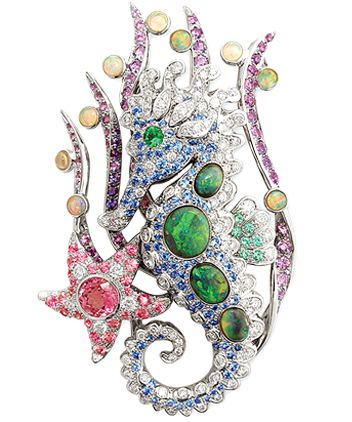 Mathon Paris 'Hippocampe' Necklace/Brooch in White gold with Diamonds, Emeralds, Sapphires, Pink and purple sapphires, White and Black opals and Paraiba tourmalines.