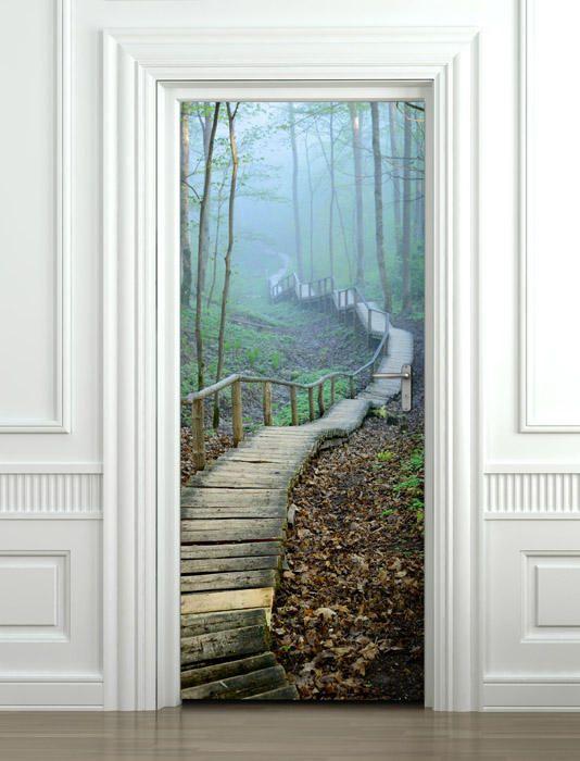 Bedroom Living Room Home Decor Forest Door Sticker Nature Door Wall Sticker Nature Wall Decor Mural Door Mural Forest Door Wallpaper