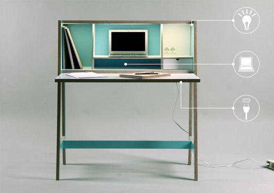 klein sekret r schreibtisch minimalistische tisch schrank. Black Bedroom Furniture Sets. Home Design Ideas