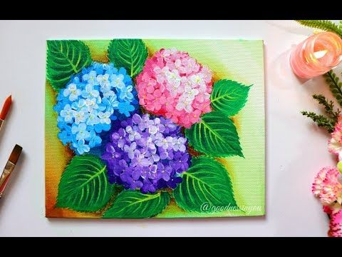 Step By Step Hydrangea Flower Painting For Beginners Using Easy Techniques Youtube Acrylic Painting Flowers Flower Painting Hydrangea Painting