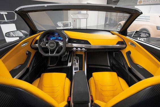 Audi concept car yellow black and grey interior seats and door panels