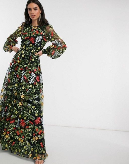 Asos Edition Summer Floral Embroidered Maxi Dress With Open Back Asos In 2020 Maxi Dress Asos Maxi Dress Embroidered Maxi Dress
