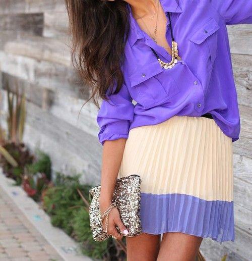 Purple Love: Purple Outfit, Shades Of Purple, Dream Closet, Spring Summer, Purple Pleats, Purple Color, Pleated Skirts, Purple Top