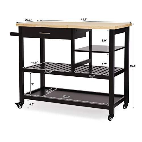 Vasagle Rubber Wood Kitchen Island Rolling Utility Cart With Drawer And Lockable Wheels Brown Ukkc92cn Wood Kitchen Island Wood Kitchen Kitchen Addition