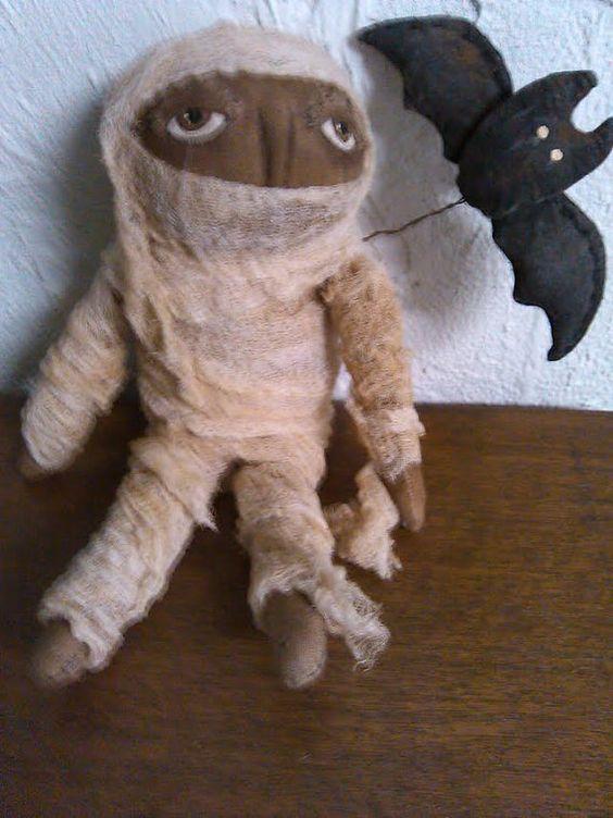 Primitive Halloween Mummy Doll - SALE