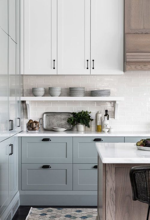 Soft Blue Gray Kitchen Cabinets Are So Stunning And Love The Mix Of Painted Cabinets Wi Blue Gray Kitchen Cabinets Grey Kitchen Cabinets Kitchen Cabinet Colors