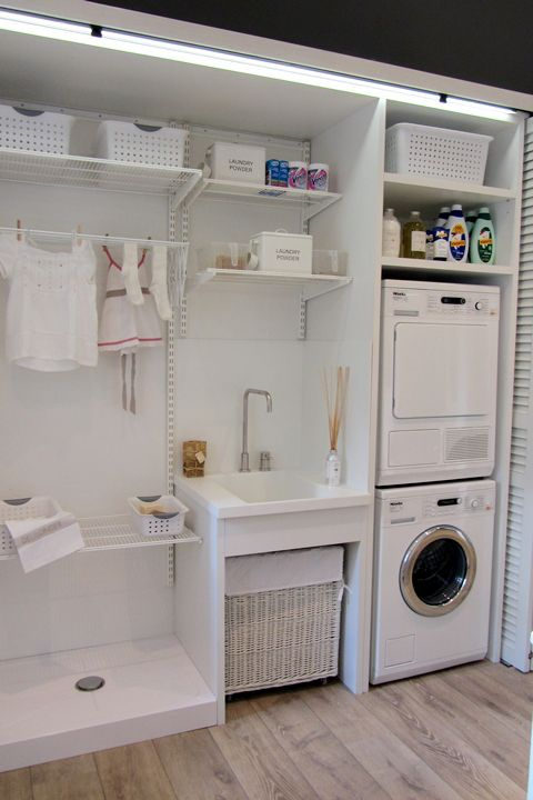 White laundry room clever storage solutions interior Storage solutions for small laundry rooms