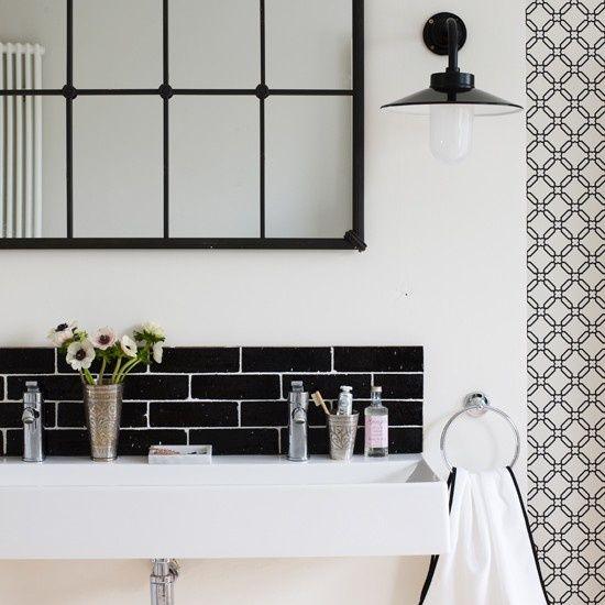 black and white tiled bathroom Dream Home Pinterest Graphics