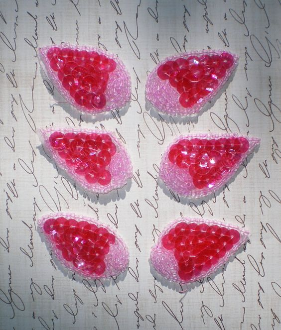 PINK SEQUIN APPLIQUES  Set of Six  Candy Pink by KeepsakesStudio