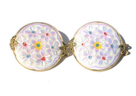 Hillcraft Slide Clip Earrings with Molded Glass Iridescent White Flower Cabochons with Gold Filled Wire Frames - Floral Vintage Jewelry