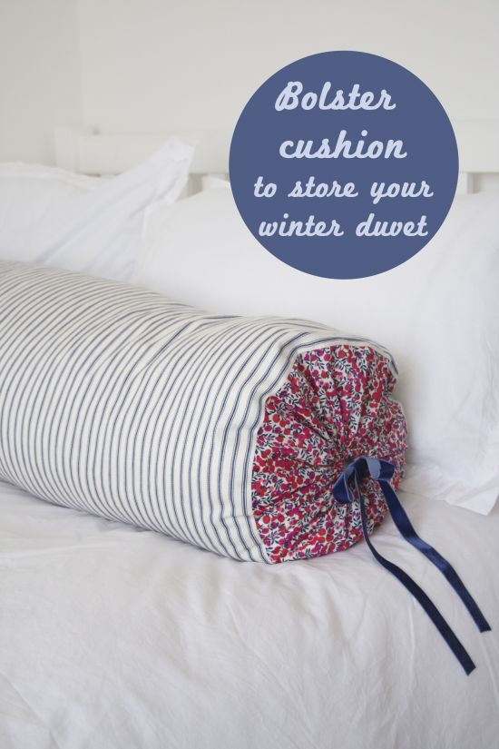 How to make a bolster cushion cover to store your winter duvet by www.apartmentapothecary.com