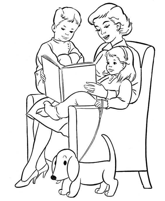 Mother's Day Coloring Pages - Reading time with Mom