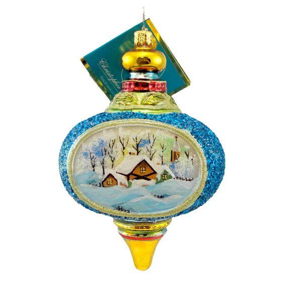 Winter Dream Scene Glass Ornament