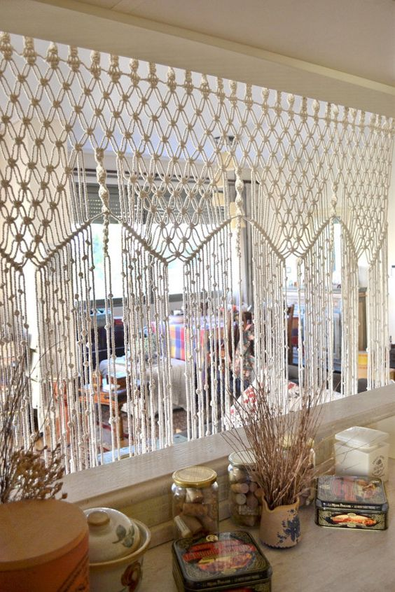 Bohemian macrame curtain / room divider / wall by Bohochoco: