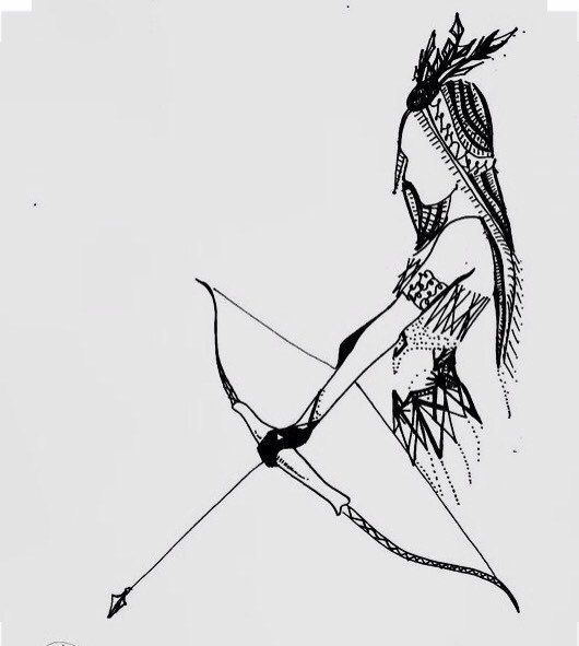 Indian Girl Bow And Arrow Drawing Ink Art By ChicCharcoals Bucket Lists Pinterest