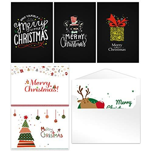 Christmas Rustic Greeting Cards 48 Pack Blank Festive Reindeer Holiday Theme 4 X 6 Inches With Envelopes Mery C Christmas Cards Christmas Card Design Cards