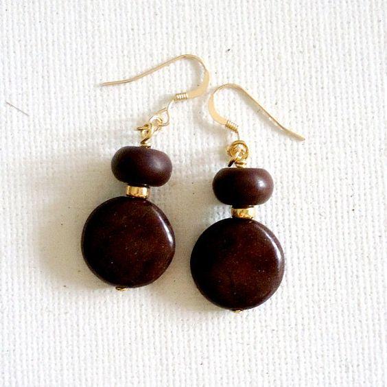 Brown Earrings Stone Earrings Gold Earrings by jewelrybycarmal, $22.00