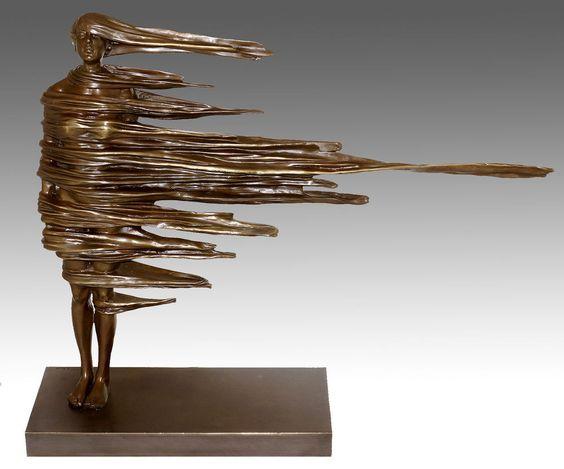 """Details zu Moderne Kunst Skulptur, Bronze - """"Standhaft"""" - signiert …"""