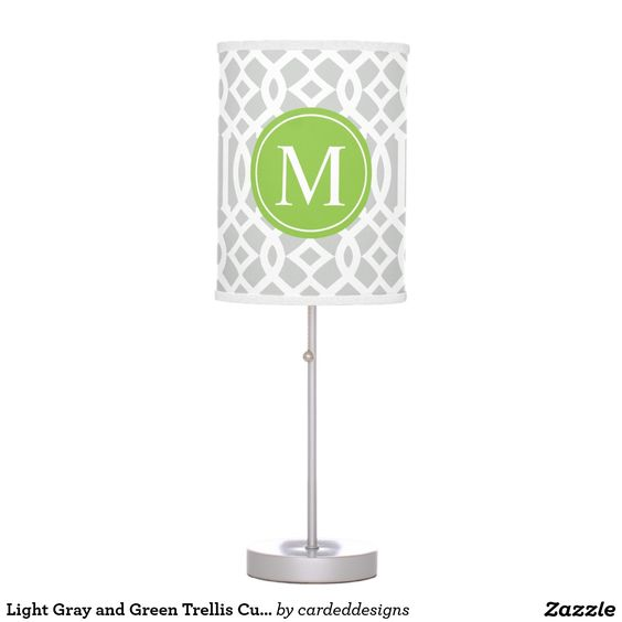 Light Gray and Green Trellis Custom Monogram Desk Lamp