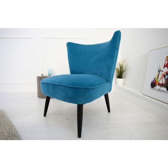 Moderne relaxstoel Retro sixties blauw fluweel - 35020