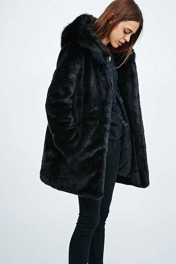 Parka London Elsa Faux Fur Hooded Coat in Black - Urban Outfitters