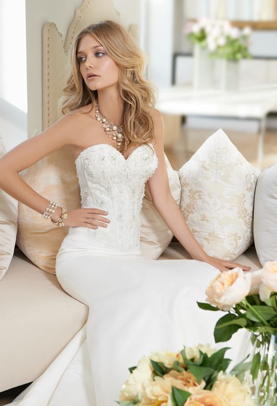 Long Strapless Beaded Mermaid Wedding Dress by Camille La Vie